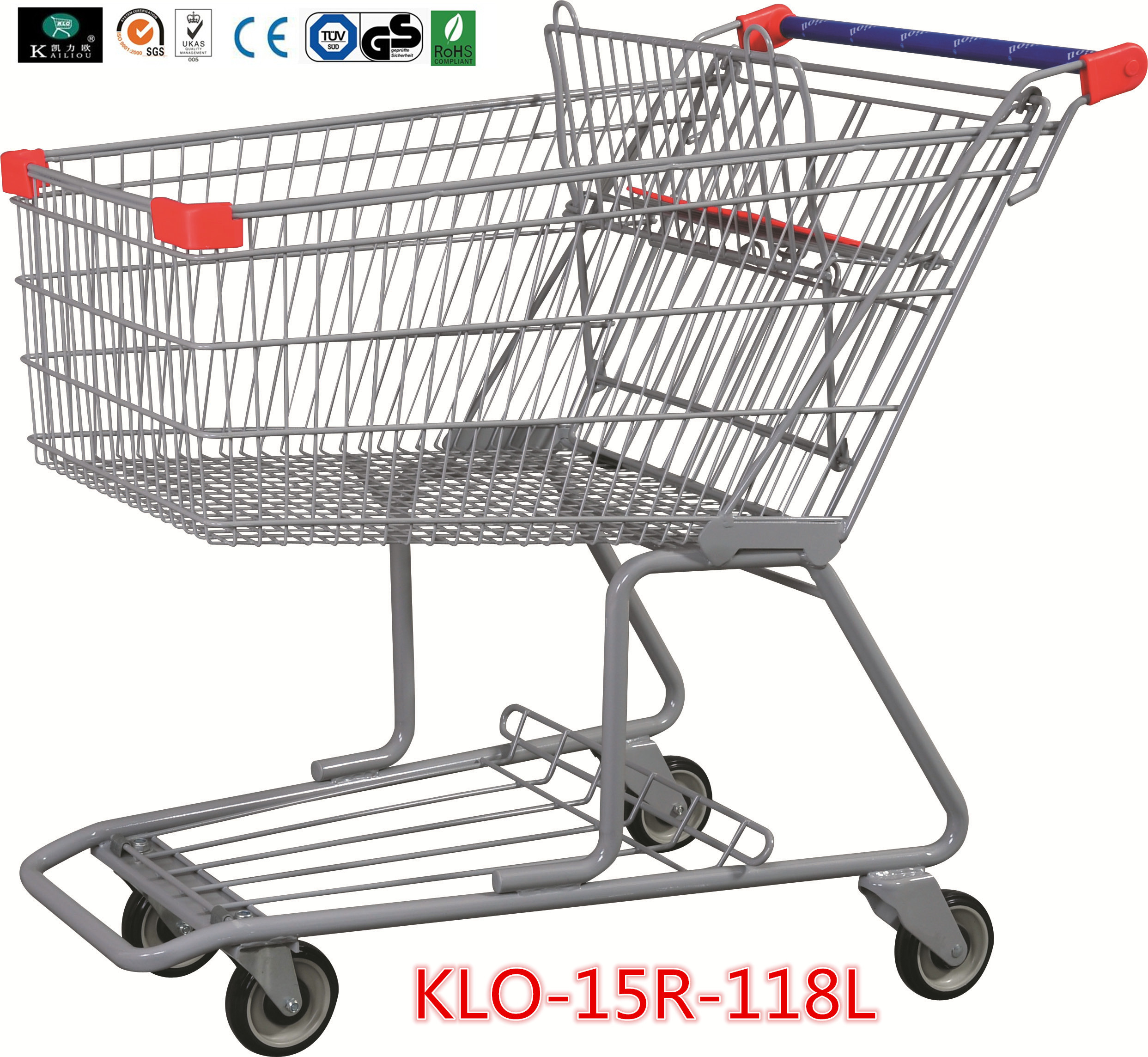 180L Advertisement Metal Grocery Store Shopping Cart With Wheels 1080x640x1075mm